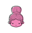 color girl head with two bus hair design vector image vector image