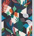 colorful tropical leaf fern geo seamless pattern vector image