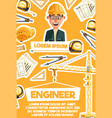 construction engineer architect profession banner vector image