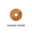 cookie biscuit with almond ring shaped element or vector image