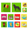 country belgium flat icons in set collection for vector image