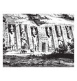 egyptian temple architecture vintage engraving vector image vector image