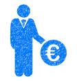 Euro investor icon grunge watermark