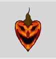 evil face pumpkin halloween heart vector image