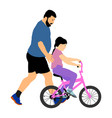 father teaching daughter riding a bicycle vector image