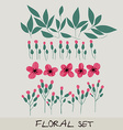 floral set Collection with leaves flowers vector image vector image