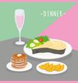 food meal dinner cook dairy eat drink menu vector image vector image