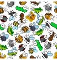 Funny cartoon insects seamless pattern vector image
