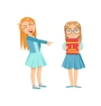 Girl Mocking Clever Kid In Glasses Teenage Bully vector image vector image