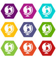 globe icons set 9 vector image vector image