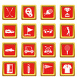 golf items icons set red vector image vector image