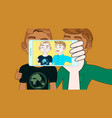 hand with smartphone take selfie of two young men vector image vector image