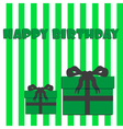 happy birthday with green and white stripes and vector image vector image