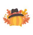 happy thanksgiving day pumpkin with pilgrim hat vector image vector image