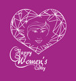 happy womens day girl greeting concept purple vector image vector image