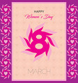 happy womens day greeting card postcard on march vector image
