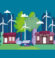 houses and cityscape with wind turbine and solar vector image