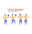 influencer video blogger streamer flat set vector image