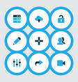 interface icons colored set with add unlock edit vector image
