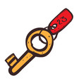 key with tag color icon with a black outline on a vector image vector image