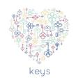 keys heart badge vector image vector image