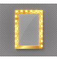 makeup mirror isolated with gold lights vector image vector image