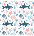 marine inhabitants seamless pattern with hand vector image