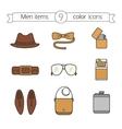 Men accessories color icons set vector image