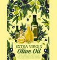 olive oil bottle with black and green fruits vector image vector image
