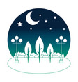 park scene at night isolated icon vector image