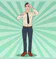 pop art nervous businessman stressed worker vector image vector image