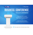realistic detailed 3d business conference template vector image vector image