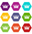 regal crown icons set 9 vector image