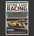 retro cars on race track motorsport vector image vector image