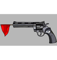 revolver with a red flag vector image