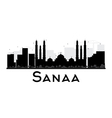 Sanaa City skyline black and white silhouette vector image