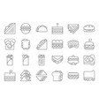 sandwich burger and shawarma outline icon set vector image