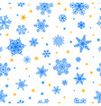 seamless pattern of snowflakes blue on white vector image vector image