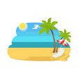 seaview seascape with tropical beach chaise longue vector image vector image