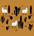 set alpaca and cactus elements vector image vector image