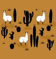 set of alpaca and cactus elements vector image