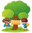 sign template with two kids playing hero vector image vector image