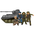 Soldiers and fighting tank vector image vector image