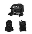 supermarket and equipment black icons in set vector image vector image