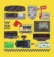 taximeter cab car fare taxi meter device vector image vector image