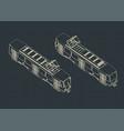 tram isometric drawings vector image