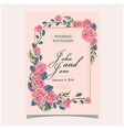 wedding invitation pink roses pink colour backgrou vector image vector image