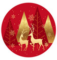 winter forest circle background with reindeers vector image