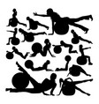 woman exercise with pilates ball silhouettes vector image vector image