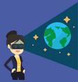 woman in vr headset getting in open space vector image vector image